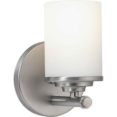 Buy the Forte Lighting Brushed Nickel Direct. Shop for the Forte Lighting Brushed Nickel Single Light Wide Bathroom Sconce with Satin Opal Glass Shade and save. Bathroom Sconces, Bathroom Vanity Lighting, Wall Sconce Lighting, Wall Sconces, Bathroom Ideas, Light Bathroom, Bathrooms, Bath Ideas, Kitchen Lighting