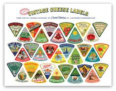 Last week I purchased a large collection of tiny vintage cheese labels designed for individual packaging of cheese wedges. Fantastic graphic...