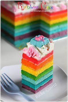 Yeap, this is the happening cake nowaday. Hosnestly, p. Cake Mix Cookie Recipes, Cake Recipes, Fondant Cakes, Cupcake Cakes, Sponge Cake Roll, Rainbow Food, Rainbow Cakes, Resep Cake, Birtday Cake