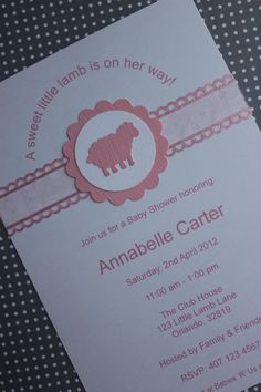 12x Little Lamb Baby Shower Invitations with Envelope. $18.00, via Etsy.
