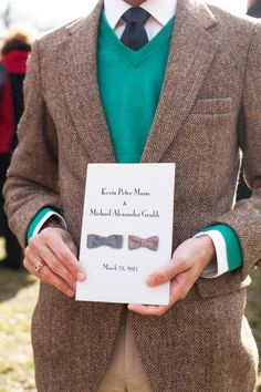 love this program idea for a same-sex wedding - two bowties!  Photography by weddings.megmillerphotography.com/index2.php#/home/  Read more - http://www.stylemepretty.com/2013/07/15/central-park-new-york-city-wedding-from-meg-miller-photography/