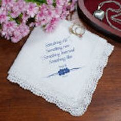 Personalized Something Blue Personalized Wedding Ladies Handkerchief - Gifts Happen Here