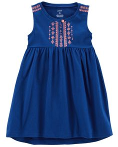 Toddler Girl Embroidered Crinkle Jersey Dress | Carters.com