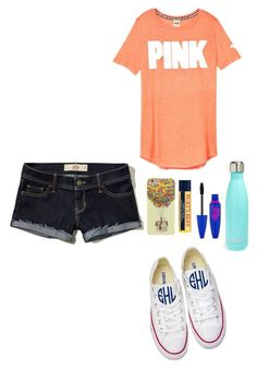 """Ootd"" by eadurbala08 ❤ liked on Polyvore featuring Hollister Co., Converse, S'well, Burt's Bees and Maybelline"