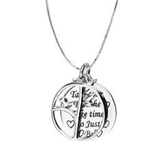 "Sterling Silver ""Take Time To Breathe Take Time To Just Be"" and ""Be"" with Open Circle Tree Reversible Pendant Necklace, 18"" Amazon Curated Collection. $28.00. Crafted in 925 Sterling Silver.. Save 53%!"