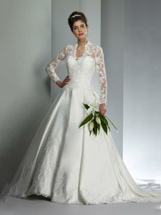 A-Line V-neck Appliques Satin Sweep Train Wedding Dress at Millybridal.com