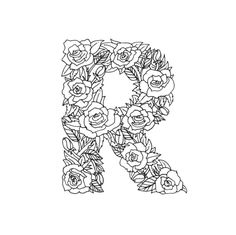 Hand drawn / lettered type with floral treatments. Letter R.<br/> <br/> Hand Type, letter R, Letter, Letters...