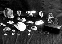 A collection of facial prosthetics to hide injuries (1900s).