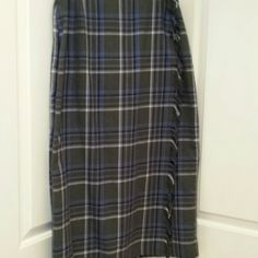 Gorgeous Requirements skirt Requirements skirt in plaid pattern of grey, white and lavender.   Fabulous look with your favorite black boots!   Size 16 Requirements  Skirts