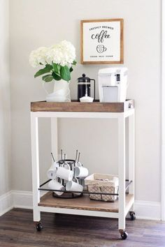 Rustic Coffee Bar Cart DIY. How to build and style this Coffee Bar Cart! Perfect for a cozy kitchen nook or entertaining!