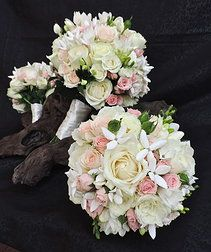 posies. Soft and pretty posy. White and pink roses. Freesia. Bouvardia