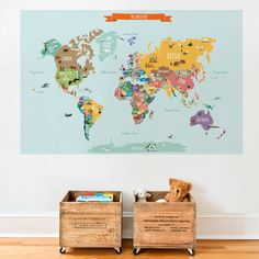 World Map Poster, World Map Decal, Taj Mahal, Wall Stickers, Wall Decals, Lion Africa, Kids World Map, Maps For Kids, Simple Shapes