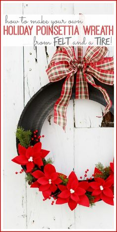 Holiday Poinsettia Tire Wreath how to from MichaelsMakers Sugarbee Crafts