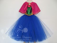 Anna Costume Tutu Dress Cape Girls Toddler by AmericanBlossoms, $54.00