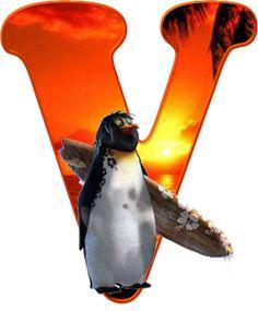 Oh my Alfabetos!: Alfabeto de pingüino surfero.