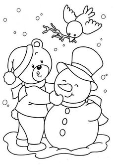 free printable snowman coloring page 2 - Fill The Colour In Pictures