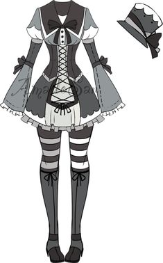 monochromatic  outfit2 Adoptable CLOSED by AS-Adoptables.deviantart.com on @DeviantArt