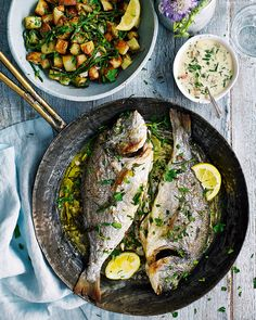Say goodbye to the traditional roast chicken and hello to this alternative Sunday lunch. Sea bream is the hero of the dish – easily roasted and serv Good Fat Foods, High Fat Foods, Side Dish Recipes, Fish Recipes, Seafood Recipes, Sea Bream Recipes, Fish Dishes, Daily Meals, Food Photography