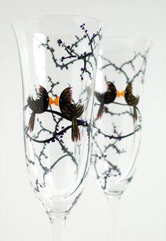 Personalized Gay Love Bird Wedding Toasting Flutes--Set of 2 Customized Champagne Flutes by Mary Elizabeth Arts