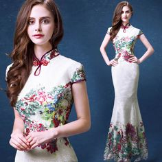 Chinese White Cheongsam Evening Prom Wedding Mermaid Dress Ball Gown lace in Clothing, Shoes & Accessories, Women's Clothing, Dresses Mermaid Prom Dresses Lace, Mermaid Evening Gown, Lace Mermaid, Ball Gowns Prom, Ball Dresses, Formal Evening Dresses, Evening Gowns, Evening Party, Formal Dress