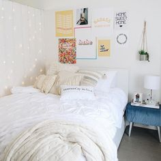 Namastay In Bed Dorm Room Decor Ideas Bed Namastay Cute Bedroom Ideas, Room Ideas Bedroom, Girls Bedroom, Bedroom Decor Teen, Dorm Room Themes, College Bedroom Decor, Bedroom Inspo, Girl Room, Cute Dorm Rooms