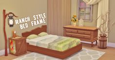 My Sims 4 Blog: Ranch Style Bed Frame Recolors by HamburgerCakes