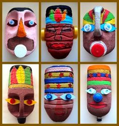 Masks from plastic bottles Kids could make these masks to go with our Ancient Civilizations unit.africké masky z plastových obalů Kids Crafts, Projects For Kids, Diy For Kids, Art Projects, Diy And Crafts, Arts And Crafts, Plastic Bottle Crafts, Plastic Art, Plastic Bottles
