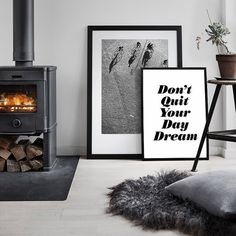 "Printable Art ""Don't Quit Your Daydream"" Typography Poster Motivational Print Inspirational Prints Minimalist Home Decor Black & White Gift"