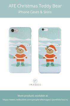 Adorable teddy bear wearing a Santa suit on a snowy winter landscape.  | © Amalia Ferreira-Espinoza www.afeimages.ca  For custom orders or design please contact me at amalia@afeimages.ca | Must have iPhone cases and skins for iPhone 7, iPhone 7 plus, iPhone 6, iPhone 6s, iPhone 6 plus, iPhone SE, iPhone 5s,  iPhone 5, iPhone 4s, iPhone 4