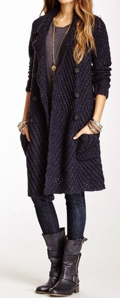 Sweater Coat with Jeans & Long Shoes ~ Fashion Frenzy