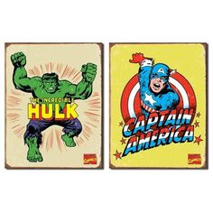 Nostalgic Superhero Tin Metal Sign Bundle - 2 comic book hero signs: Incredible Hulk Retro & Captain America Retro 0136 by American Yesteryear. $25.00. Officially licensed products.. Rolled and hemmed edges for safe handling.. Bundle of 2 BRAND NEW tin metal signs: Incredible Hulk Retro & Captain America Retro. TIN SIGN Dimensions (each sign) : 16 x 12.5 inches.. Each corner has a pre-punched hole for easy hanging.. This is a bundle of 2 BRAND NEW items: ITEM 1 : A...