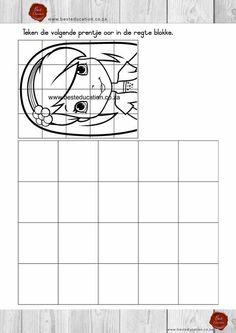 Teken die prentjie oor in die blokke Kuns Graad 5 - www.besteducation.co.za Worksheets, Grid, Teaching, Education, Projects, Blue Prints, Literacy Centers, Learning, Educational Illustrations