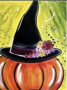 Halloween Canvas Paintings, Fall Canvas Painting, Halloween Drawings, Halloween Painting, Autumn Painting, Autumn Art, Diy Painting, Canvas Art, Witch Painting
