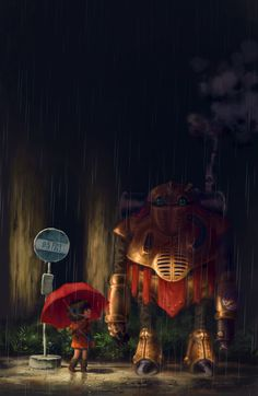 Lucca, Robo - Totoro by the-muddy  Two of my favourite things: Chrono Trigger and My Neighbour Totoro