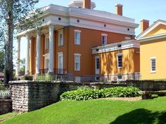 """Lanier Mansion in Madison, IN.  In 1817, his family moved to Madison, then one of the most important towns in the new state of Indiana, and there his father opened a dry goods store.   His successes as a financier would eventually enable him to loan the state of Indiana large sums of money so that the state could equip its troops during the Civil War.   Lanier died in New York City on the 27th of August 1881.   Duggan Library has 1st edition of """"Sketch of the Life of J.F.D. Lanier."""""""