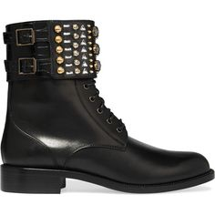 René Caovilla - Swarovski Crystal-embellished Leather Ankle Boots (€620) ❤ liked on Polyvore featuring shoes, boots, ankle booties, black, black lace up boots, black lace up booties, leather ankle boots, black booties and black boots