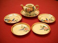 Vintage 1960's Porcelain China Girl's Child's Toy Tea Dishes & Teapot - Japan #notbranded