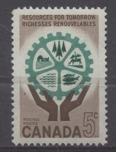 Canada #394 5c Brown And Blue Green 1961 Hands And Cogwheel VF 84 NH First Nations, Postage Stamps, Blue Green, Canada, Graphic Design, Money, Cool Stuff, Brown, Creative