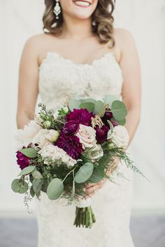 Rustic maroon and blush bouquet: Photography : Shaun Menary Photography Read More on SMP: http://www.stylemepretty.com/texas-weddings/dallas/2016/03/31/rustic-white-sparrow-barn-wedding/