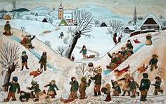 Czech winter theme, painted by the Czech painter Josef Lada Retro 2, My Heritage, Winter Theme, Czech Republic, Childrens Books, Illustrators, Folk Art, The Past, Africa