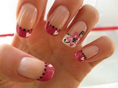 Love Flowers - Nail Art Gallery by NAILS Magazine Im digging the pink tips with white <3's & the black accent! <3 it