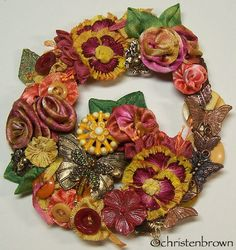 Mariposa Fall is made from flowers included in my book Ribbonwork Flowers.