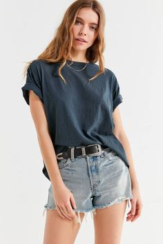 Vintage Washed Overdyed Boyfriend Tee | Urban Outfitters