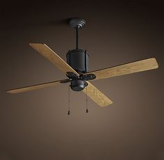 RH's Industry Ceiling Fan:The retro chic of galvanized steel cloaks the updated workings of our silent fan. For Master.