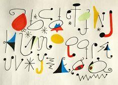 Miro Alphabet - Joan Miró i Ferrà; Ecole Art, Types Of Lettering, Art Lessons Elementary, Art Graphique, Letter Art, Letters And Numbers, Art Plastique, Teaching Art, Word Art