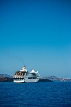 Cruise Ship arriving in Santorini