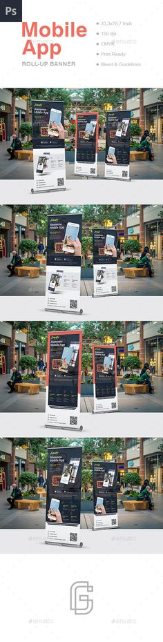Mobile App Roll-Up Banner Template PSD. Download here: https://graphicriver.net/item/mobile-app-rollup-banner-template/17353427?ref=ksioks