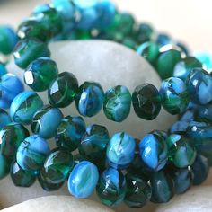 6x9mm Firepolished Picasso Rondelle Beads  by funkyprettybeads