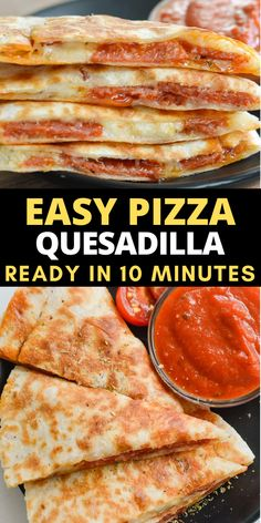 These Easy Pizza Quesadillas are loaded with pepperoni, mozzarella and Italian seasoning! This is the perfect quick and easy dinner recipe!   #pizza Brunch Recipes, Easy Dinner Recipes, Easy Meals, Easy Recipes, Skinny Recipes, Weeknight Meals, Kids Meals, Dinner Ideas, Vegan Recipes