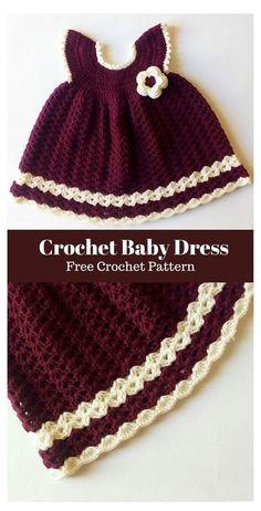 Crochet Baby Dress Free Pattern, Baby Dress Patterns, Baby Girl Crochet, Crochet Baby Clothes, Newborn Crochet, Crochet For Kids, Free Crochet, Knit Crochet, Skirt Patterns